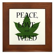 Peace, Love, and Weed Framed Tile