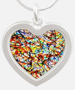 Doodle Squiggle Giggle Color Silver Heart Necklace