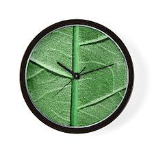 Veined Green Leaf Wall Clock