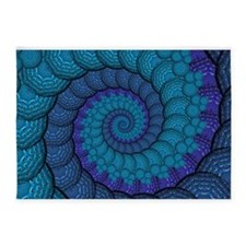 Blue Peacock Fractal Pattern 5'x7'Area Rug