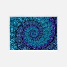 Blue Peacock Fractal Pattern 5'x7'Area Rug
