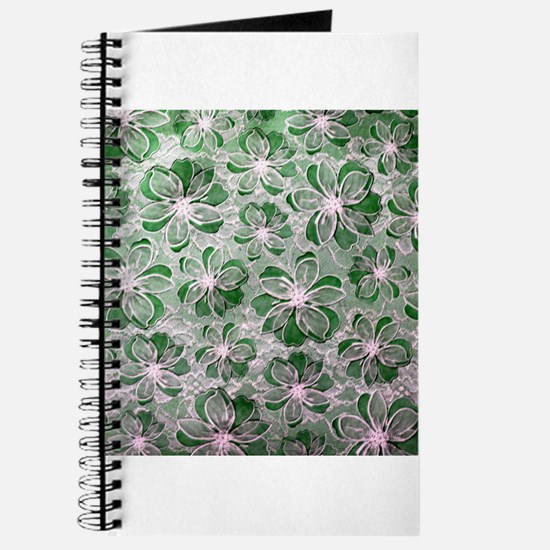 Green Vintage Floral Lace Journal