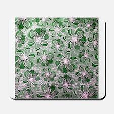 Green Vintage Floral Lace Mousepad