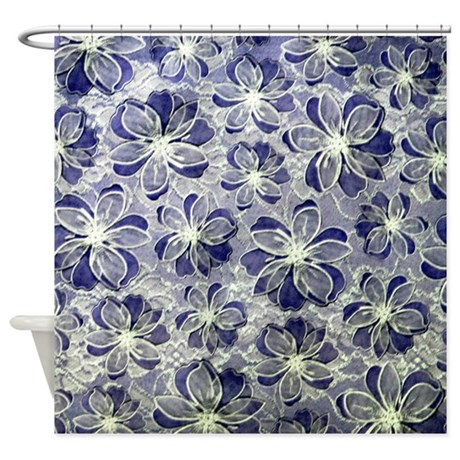 Blue Vintage Floral Lace Shower Curtain By Weddinglittletreasures