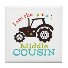 Middle Cousin Tractor Tile Coaster