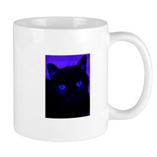 Black Cat in Blue Mugs