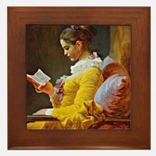 Young Girl Reading, painting by Jean-H Framed Tile