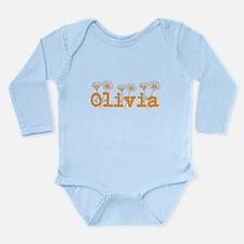 Orange Olivia Name Body Suit