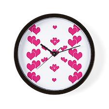 Hot Pink Hearts Wall Clock