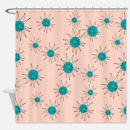 Mid-Century Starburst Shower Curtain