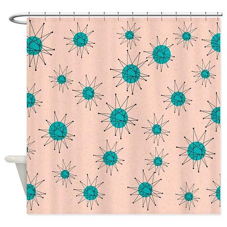 Mid Century Starburst Shower Curtain