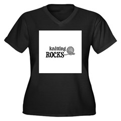 Knitting Rocks Women's Plus Size V-Neck Dark T-Shi
