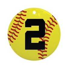 Softball Sports Player Number 2 Ornament (Round)