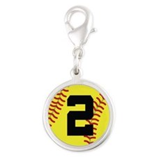 Softball Sports Player Number 2 Silver Round Charm