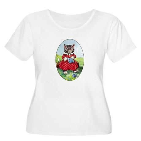 Knittting Kitty Women's Plus Size Scoop Neck T-Shi