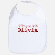 Red Olivia Name Bib
