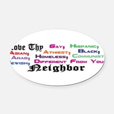 Unique Liberal christian Oval Car Magnet