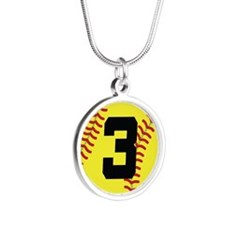 Softball Sports Player Number 3 Silver Round Neckl
