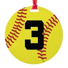 Softball Sports Player Number 3 Ornament