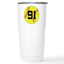 Softball Sports Player Number 91 Travel Mug