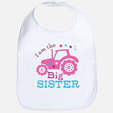 Pink Tractor Big Sister Bib