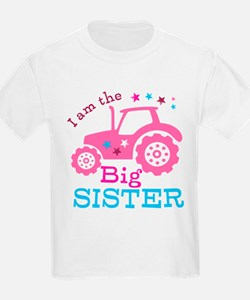 Pink Tractor Big Sister T-Shirt