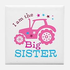 Pink Tractor Big Sister Tile Coaster