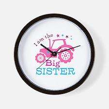 Pink Tractor Big Sister Wall Clock
