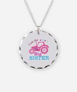 Pink Tractor Big Sister Necklace
