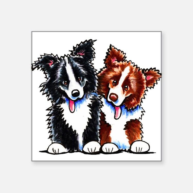 "Little League Border Collies Square Sticker 3"" x 3"