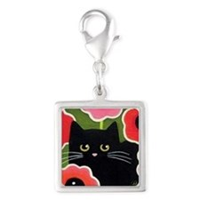 SHY Black CAT Wild Poppies Silver Square Charm