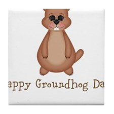 Happy Groundhog Day! Tile Coaster