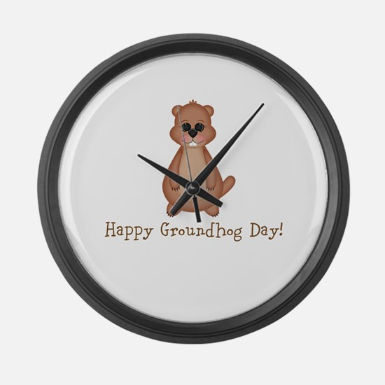 Happy Groundhog Day! Large Wall Clock