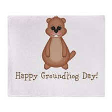 Happy Groundhog Day! Throw Blanket