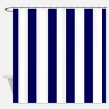 navy blue stripes 2 Shower Curtain