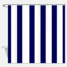 navy blue stripes 2 Shower Curtain
