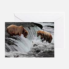 Bears catching fish  Greeting Card
