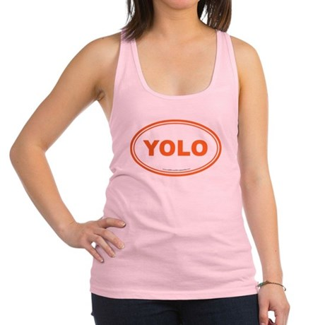 YOLO EURO Oval, You Only Live Once Racerback Tank