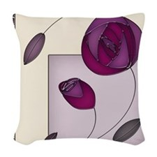 Roses In Stained Glass - Woven Throw Pillow