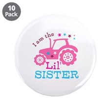 "Pink Tractor Little Sister 3.5"" Button (10 pack)"