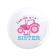 "Pink Tractor Little Sister 3.5"" Button (100 pack)"