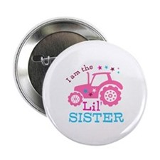 "Pink Tractor Little Sister 2.25"" Button (10 pack)"