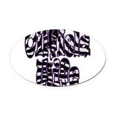 Oilfield Wife Zebra Purple Oval Car Magnet