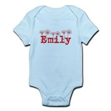 Red Emily Name Body Suit