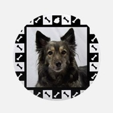 Maia--Dog Portrait with Black and W Round Ornament