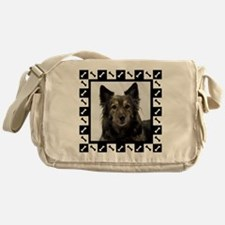 Maia--Dog Portrait with Black and Wh Messenger Bag