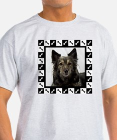 Maia--Dog Portrait with Black and Wh T-Shirt