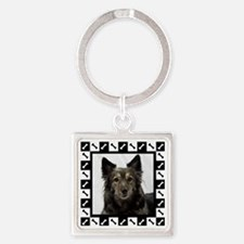 Maia--Dog Portrait with Black and  Square Keychain