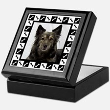 Maia--Dog Portrait with Black and Whi Keepsake Box