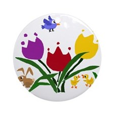 Tulip Flowers, Ducks, and Bunny Round Ornament